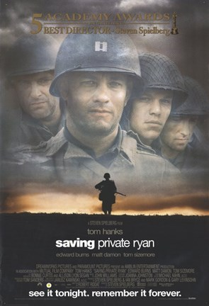 Framed Saving Private Ryan - See it tonight. Remember it forever. Print