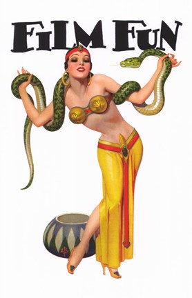Framed Film Fun Snake Charmer Pin Up Girl Print