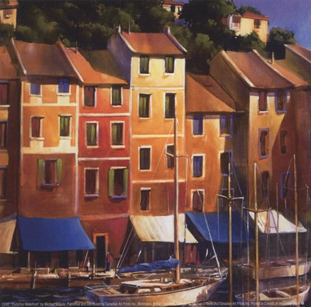 Framed Portofino Waterfront Print