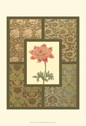 Framed Textile with Floral I Print