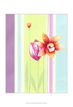 Framed Flowers & Stripes I Print