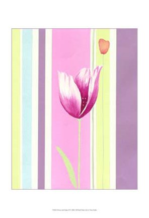 Framed Flowers & Stripes III Print
