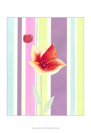 Framed Flowers & Stripes IV Print