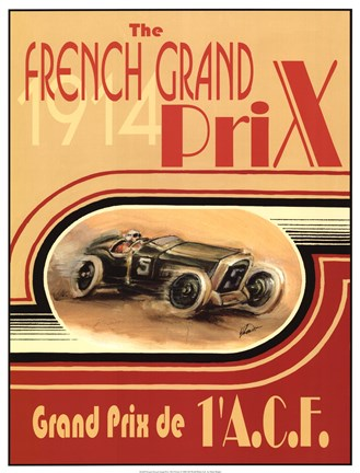 Framed Printed French Grand Prix 1914 Print