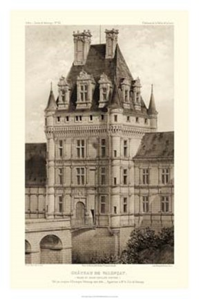 Framed Sepia Chateaux VIII Print