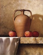 Olive Oil Jug with Persimmons  Fine Art Print