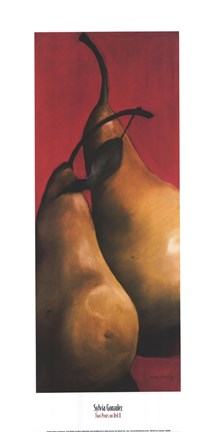Framed Two Pears on Red II Print