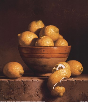 Framed Lemons in a Bowl with Peel Print