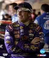 Jamie McMurray portrait with Crown Royal uniform with big grin  Fine Art Print