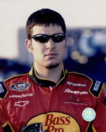 Martin Truex, Jr. in sunglasses in Bass Pro uniform