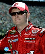 Dale Earnhardt, Jr. in red and white Bud hat and sunglasses