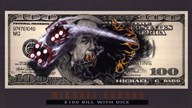 $100 Bill with Dice Art