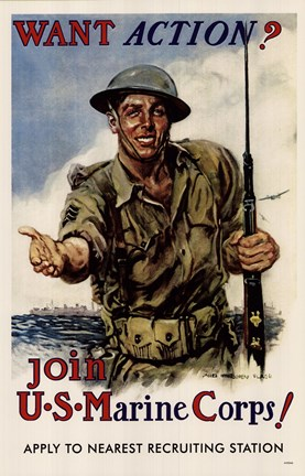 Framed Want Action-Join US Marine Corps Print