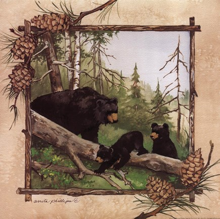 Framed Black Bears IV Print