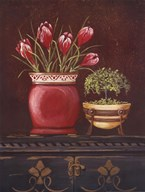 Asian Red Crocus Floral Art