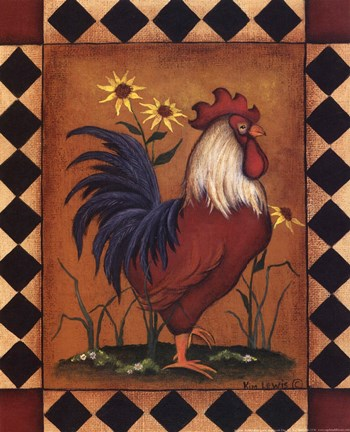Red Rooster Ii Fine Art Print By Kim Lewis At