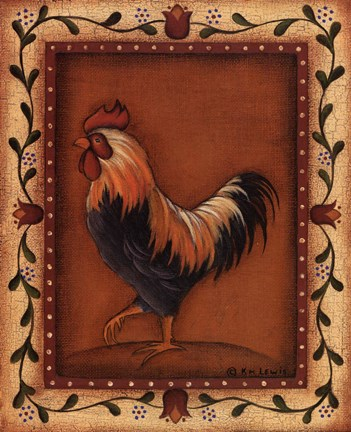 Black Rooster Fine Art Print By Kim Lewis At