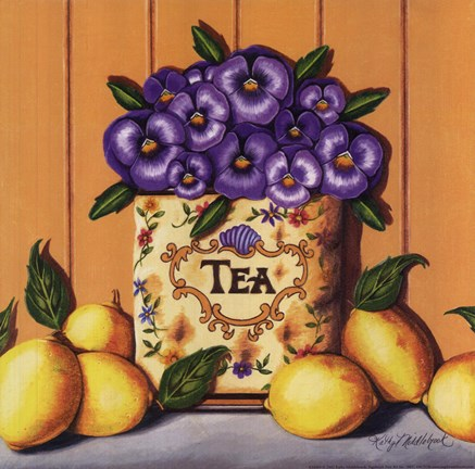 Framed Tea Pansies Print