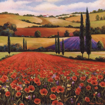 Framed Fields of Poppies II Print