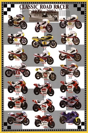 Framed Classic Road Racers 1973-2002 Print