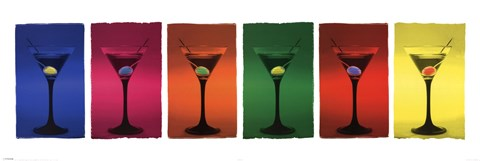 Framed Martini Glasses Pop Art Print