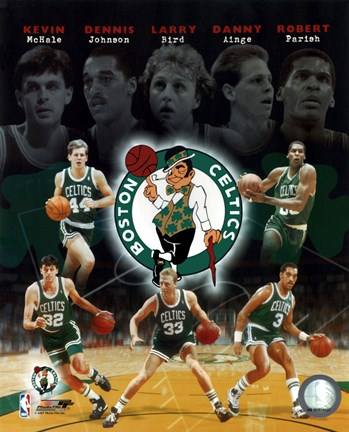 Framed Boston Celtics Big Five Legends Composite Print