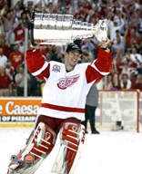 Dominik Hasek with the 2002 Stanley Cup #11 Art