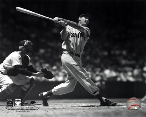 Framed Ted Williams - Batting (sepia) Print