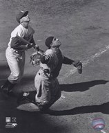 Yogi Berra - catching action / sepia