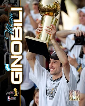 Framed Manu Ginobili 2005 - NBA Championship With Trophy Composite (#12) Print