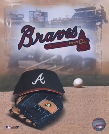 Framed Atlanta Braves - '05 Logo / Cap and Glove Print
