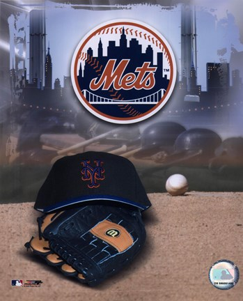 Framed New York Mets - '05 Logo / Cap and Glove Print