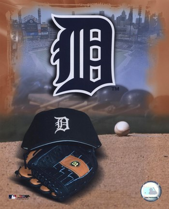 Framed Detroit Tigers - '05 Logo / Cap and Glove Print