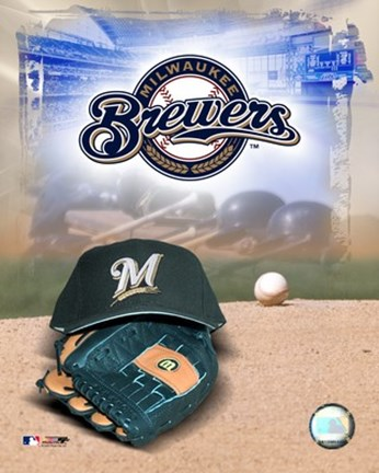 Framed Milwaukee Brewers - '05 Logo / Cap and Glove Print