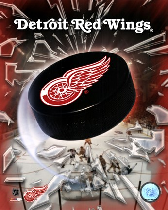 Framed Detroit Red Wings - 2005 Logo / Puck Print