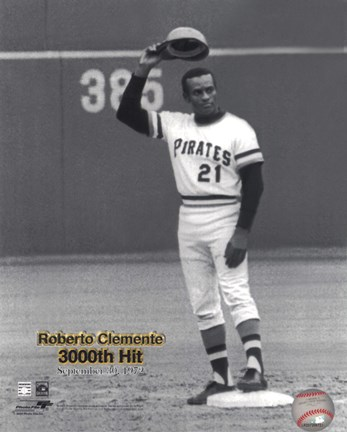 Roberto Clemente 9 30 72 3000 Hit Fine Art Print By