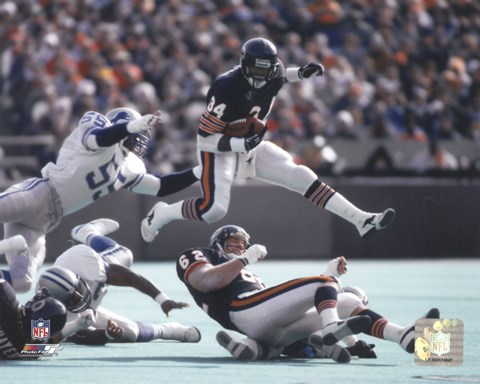 Walter Payton In Air Action Fine Art Print By Unknown At