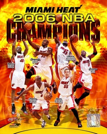 Framed 2006 - Heat NBA Champions Composite Print