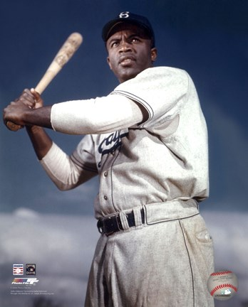 Framed Jackie Robinson - 1953 Posed Batting Print