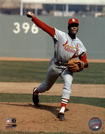 Framed Bob Gibson - Pitching Action Cardinals Print