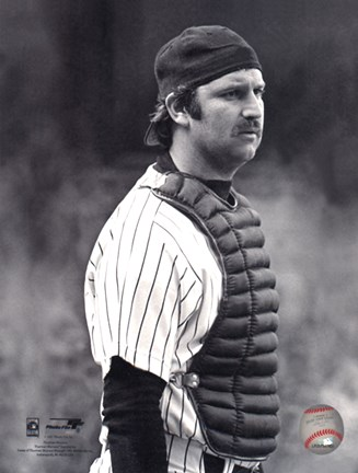 Framed Thurman Munson - 1978 Catching Action Print