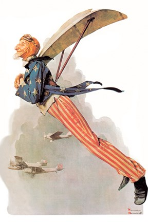 Uncle Sam Takes Wings Fine Art Print By Norman Rockwell At