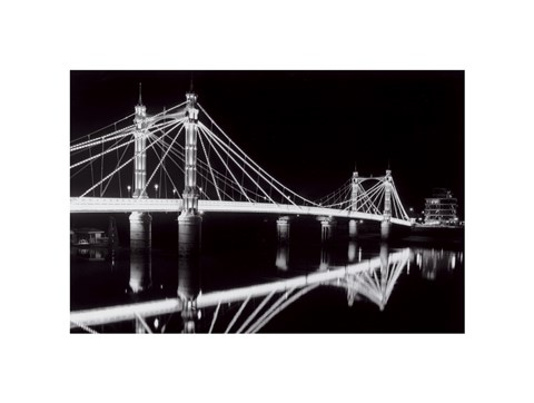 Framed Albert Bridge At Night Print