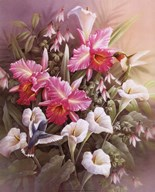 Hummingbirds With Lilies Art
