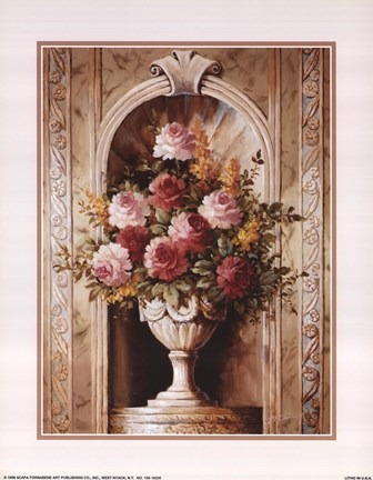 Framed Assorted Roses In Urn Print
