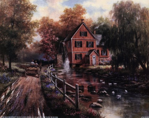 Framed Red Covered Bridge Print