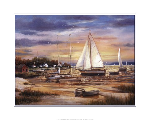 Framed Sailboats At The Shore Print