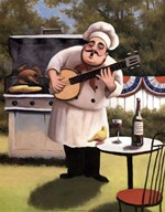 Barbecue Chef and Banjo  Fine Art Print