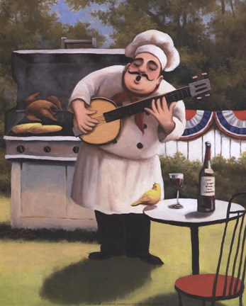 Framed Barbecue Chef - Banjo Print
