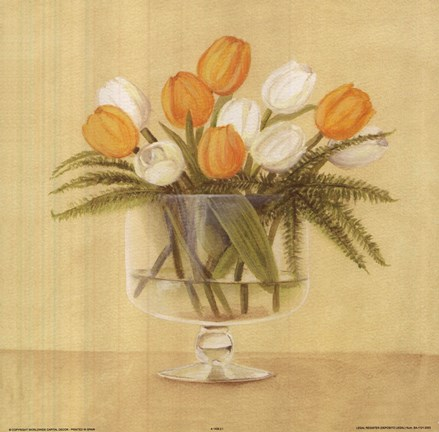 Framed White Orange Tulips In Vase Print